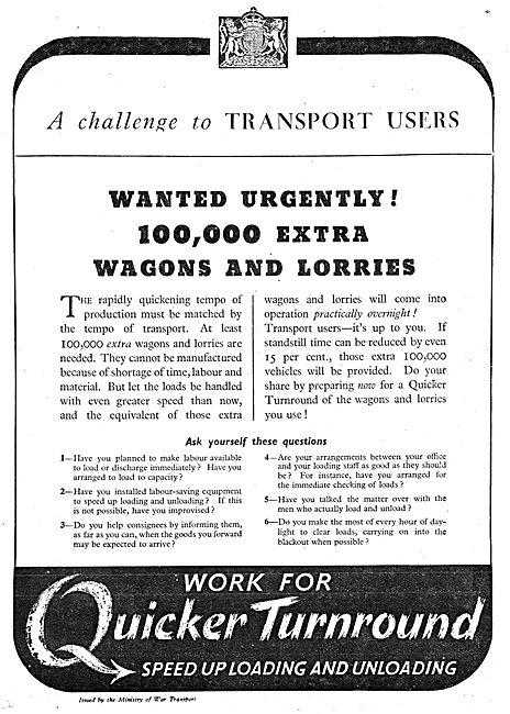Ministry Of War Transport - Production Notice