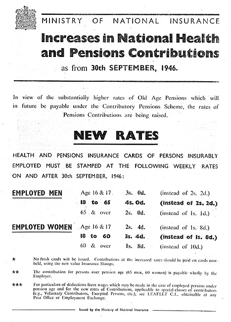 Ministry Of National Insurance - PAYE Contributions 1946