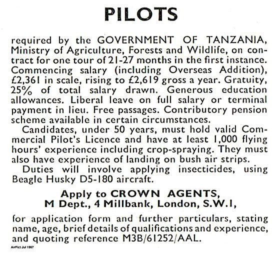 Pilots Required  Tanzania 1967
