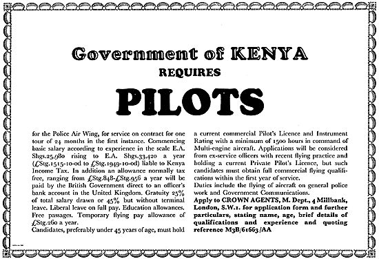 Crown Agents: Government Of Kenya Requires Pilots - Police Wing
