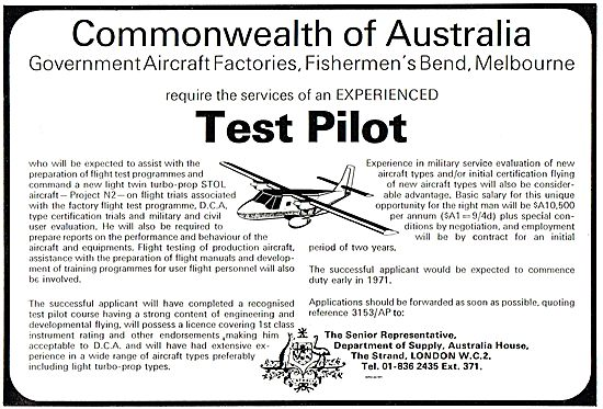 Dept Of Supply Australia: GAF Require Experienced Test Pilot.