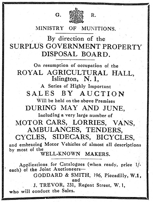 Ministry Of Munitions Sale Of Surplus Vehicles. 1919