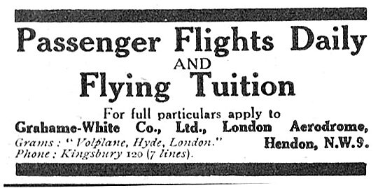 Pleasure Flights At Hendon With Grahame-White Co