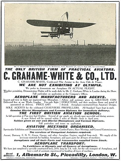 Grahame-White Monoplanes, Flying Meetings & Aviation School