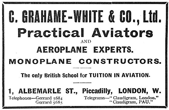 Grahame-White & Co Practical Aviatiors & Aeroplane Experts