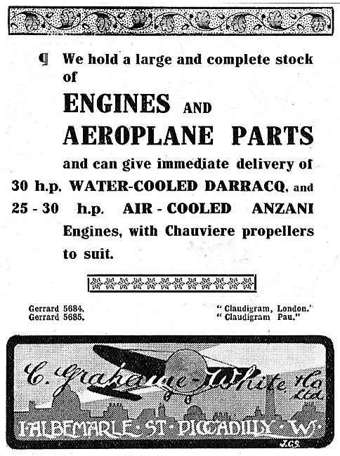 Grahame-White's Hold A Large & Complete Stock Of Aeroplane Parts