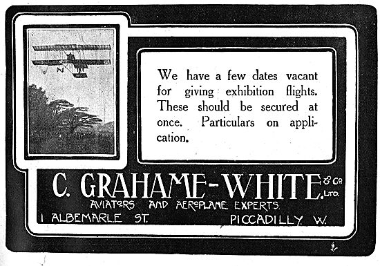 Grahame-White Exhibition Flight Dates Available On Request