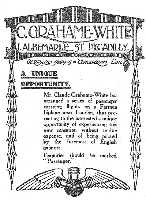 Opportunity To Fly As A Passenger With Mr Claude Grahame-White