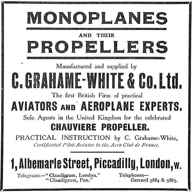 Grahame-White Manufacturers Of Monoplanes & Propellers