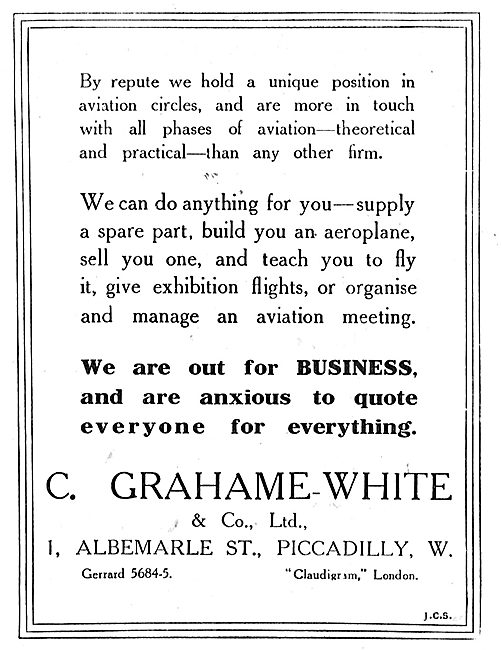 Let Grahame-White & Co Quote For Your Aeroplane Construction