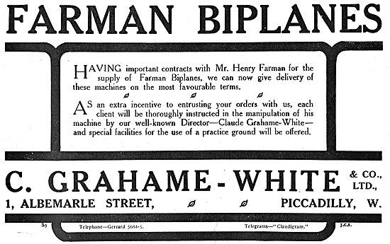 Order Your Farman Biplane From Grahame-White & Co
