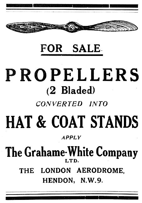 Grahame-White - Surplus Propllers For Use As Hat Stands