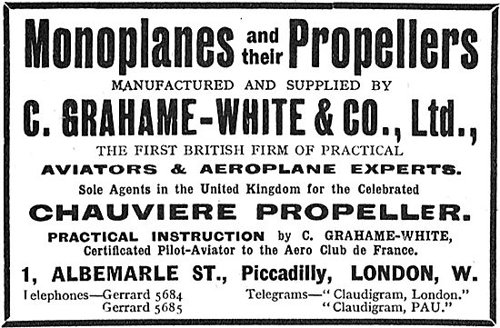 Grahame-White & Co - Sole UK Agents For Chauviere Propellers