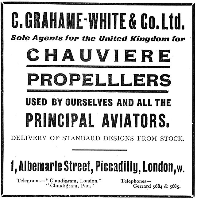 Grahame-White & Co Sole UK Agents For Chauviere Propellers