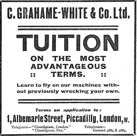 C.Grahame-White & Co Ltd For Flying Tuition On Advantageous Terms