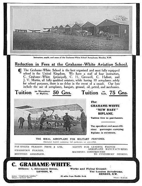 Learn To Fly At The Grahame-White Aviation School At Hendon