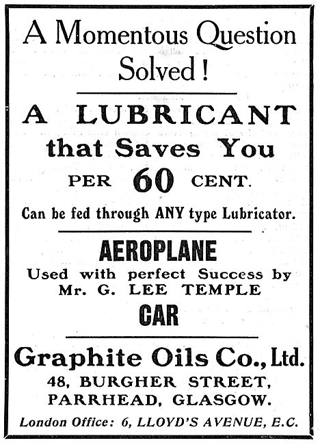 Graphite Oils - Can Be Fed Through All  Aeroplane Lubricators
