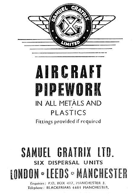 Samuel Gratrix Aircraft Pipework In Metals & Plastics 1943 Advert