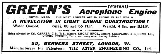 Green's (Patent) Water Cooled Aeroplane Engine 60hp and 35hp