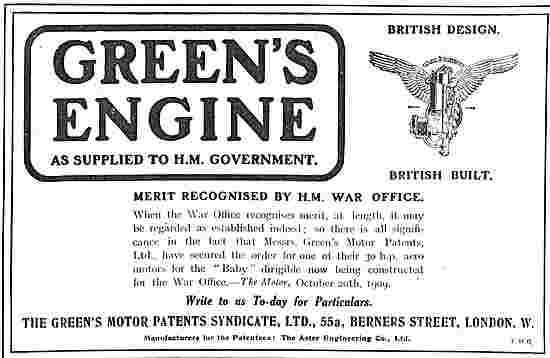 Greens Aeroplane Engines As Supplied To H.M Government