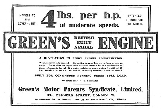 Greens British Built  Aerial Engines - 4 Lbs Per HP