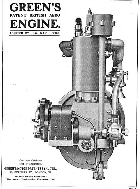 Green's Patent British Aero Engine - Adopted By The War Office