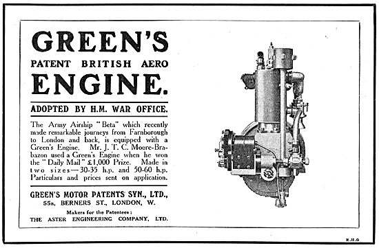 Green's Patent  British Aero Engine Adopted By The War Office