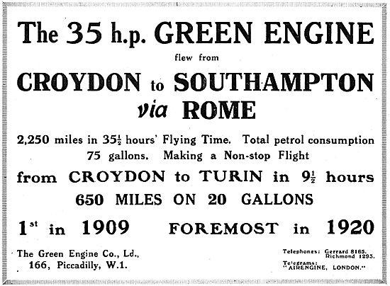 The Green 35HP Aero Engine - Croydon To Turin Flight