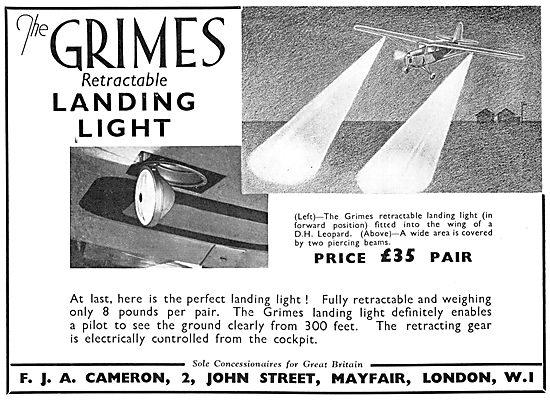 Grimes Aircraft Lighting 1935