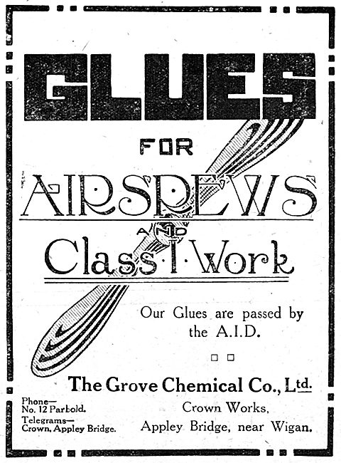 The Grove Chemical Co.Ltd. Appley Bridge. Wigan. Aircraft Glues
