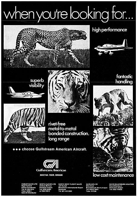 Gulfstream American Cheetah Tiger Cougar Light Aircraft