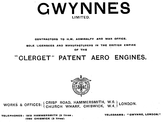 Gwynnes Clerget  Aero Engines 1917