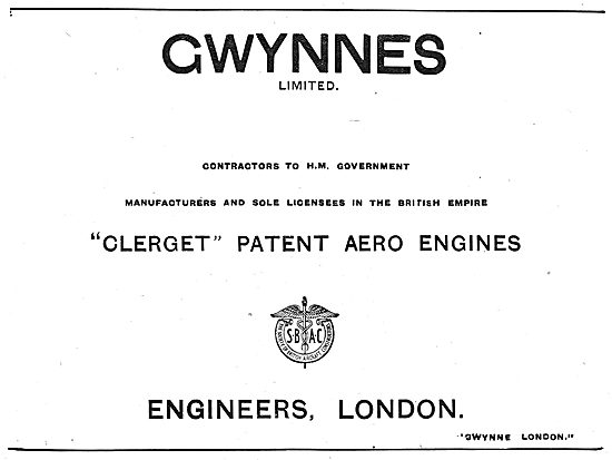 Gwynnes Ltd - Licensees For Clerget Patent Aero Engines