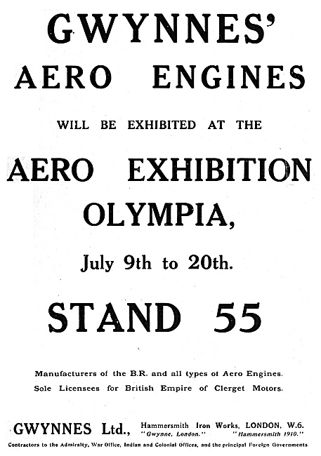Gwynnes Aero Engines. Hammersmith Iron Works 1920