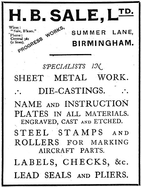 H.B.Sale Ltd. Birmingham  - Aeronautical Sheet Metal Work.