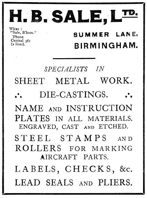 H.B.Sale Ltd - Aeronautical Sheet Metal Work