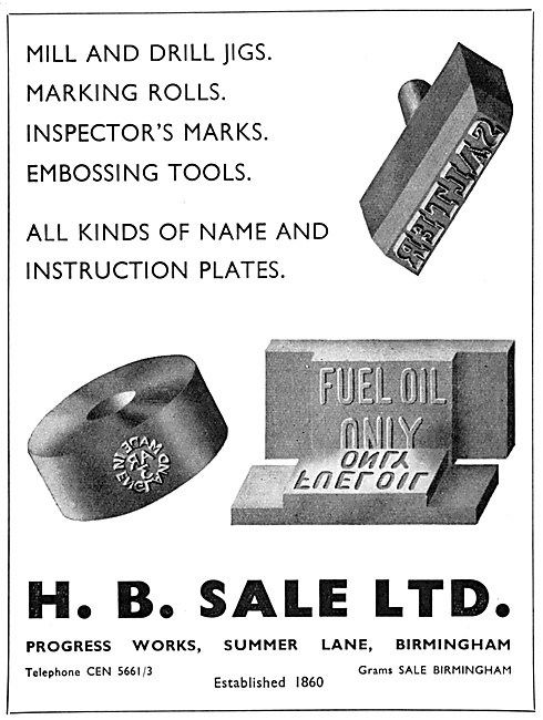 H.B.Sale Jigs, Engineers Marks & Name Plates