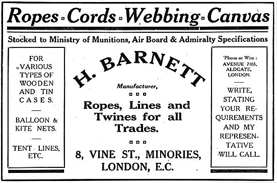 H.Barnett. 8,Vine St, Minories - Ropes & Twines For Aircraft.