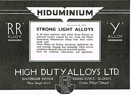 High Duty Alloys Hiduminium
