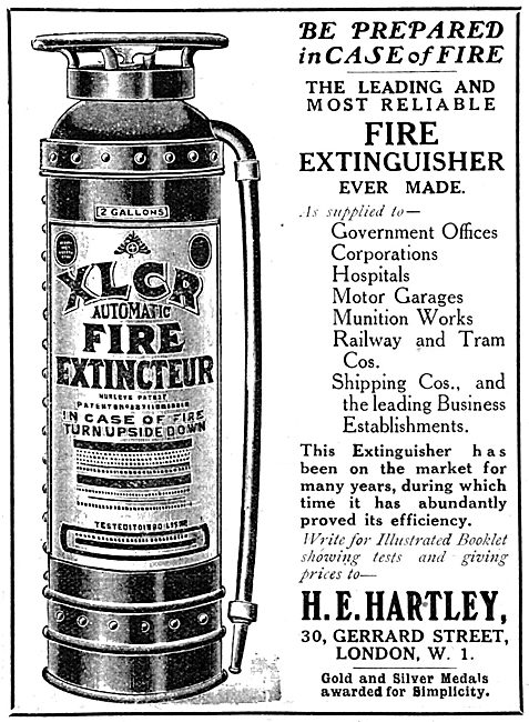 H.E.Hartley - XLCR Fire Extinguishers 1917 Advert