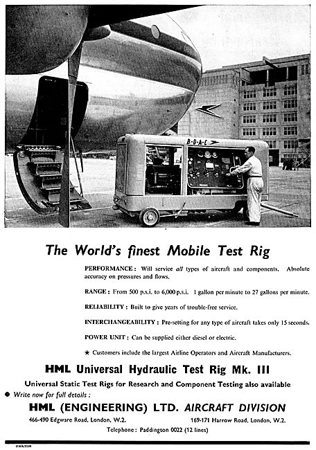 HML Universal Hydraulic Aircraft Mobile Test Rig