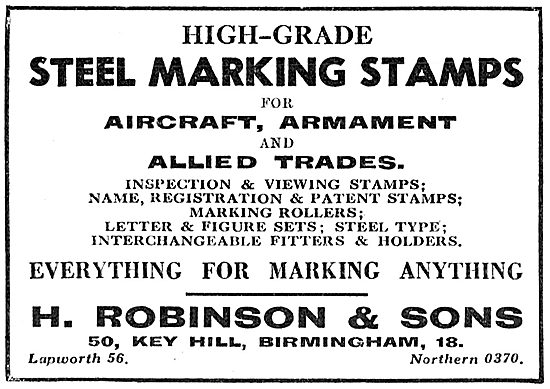 H.Robinson & Sons Engineers Stamps & Marking Tools