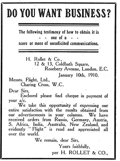 H. Rollet Flight Testimonial