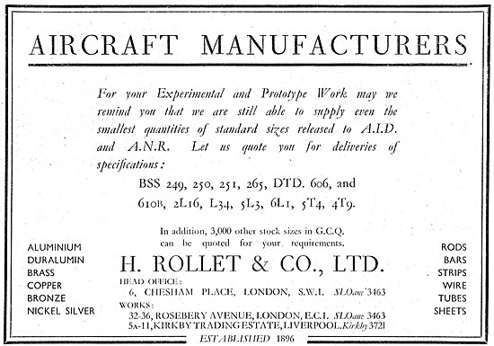 H. Rollet Suppliers Of Non-Ferrous Metals