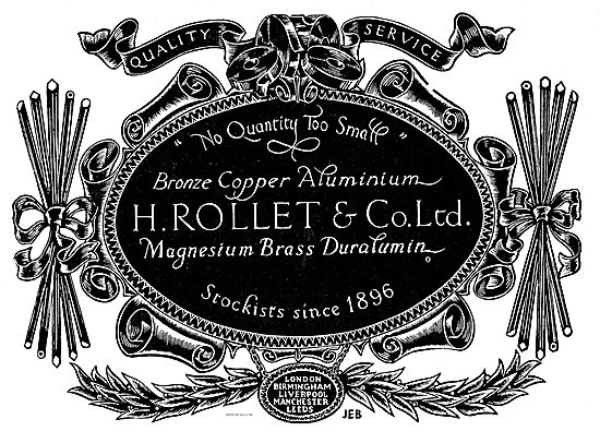 H. Rollet Supploers Of Magnesium Brass & Dualumin Since 1896