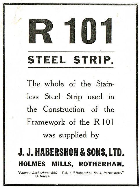 Habershon Strip Steel Used For The R101 Airship Framework