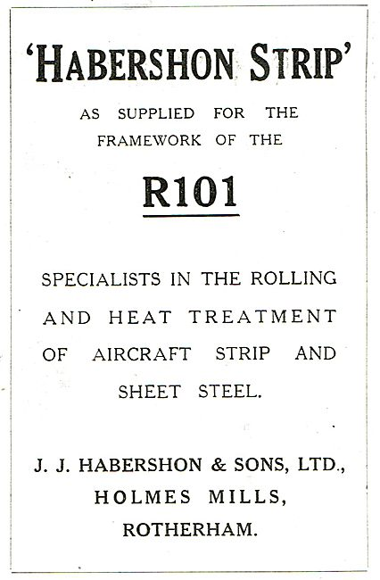 Habershon Strip Steel As Supploed For The Framework Of The R101