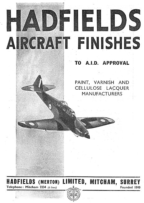 Hadfields Ltd. Aircraft Finishes.