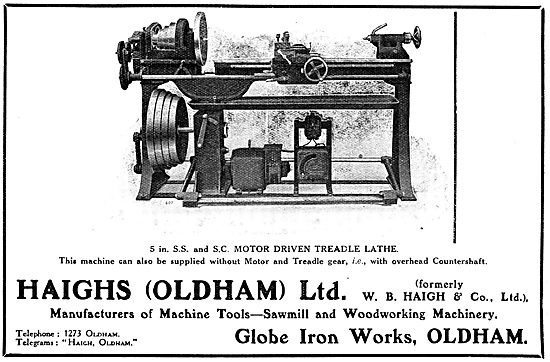 Haighs Of Oldham: 1917. Motor Driven Treadle Lathe