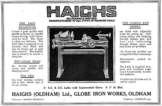 Haighs Of Oldham: WW1 Lathe With Countershaft Drive